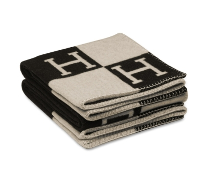 Hermes Black & White Blanket